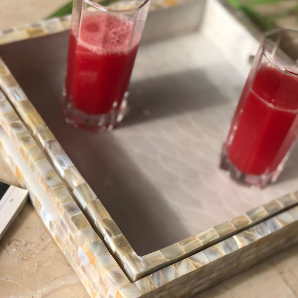 MOTHER OF PEARL TRAY SQUARE (MEDIUM) - Mason Home by Amarsons - Lifestyle & Decor