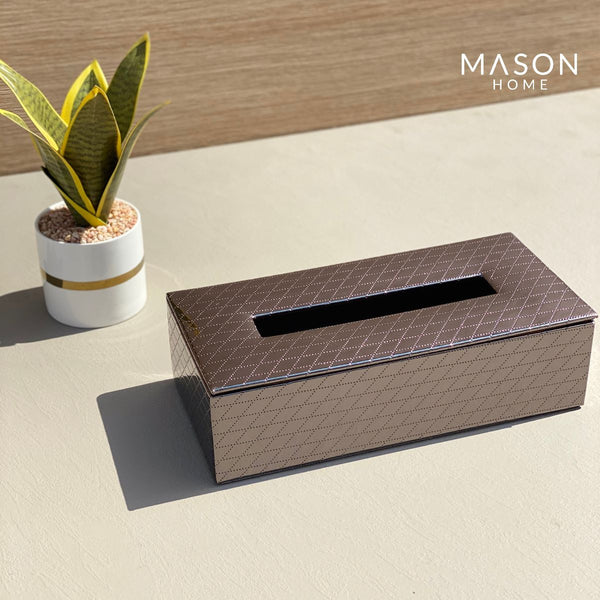 CHEQUERED TISSUE BOX - GUN METAL