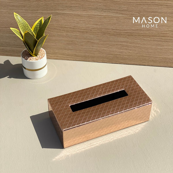 CHEQUERED TISSUE BOX - ROSEGOLD