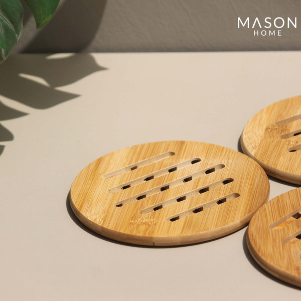 CIRCULAR BAMBOO TRIVETS #2 SMALL- SET OF 4