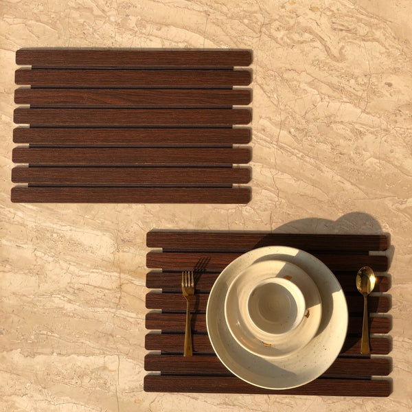 WOODEN PLACEMATS - DARK BROWN SET OF 2 - Mason Home by Amarsons - Lifestyle & Decor