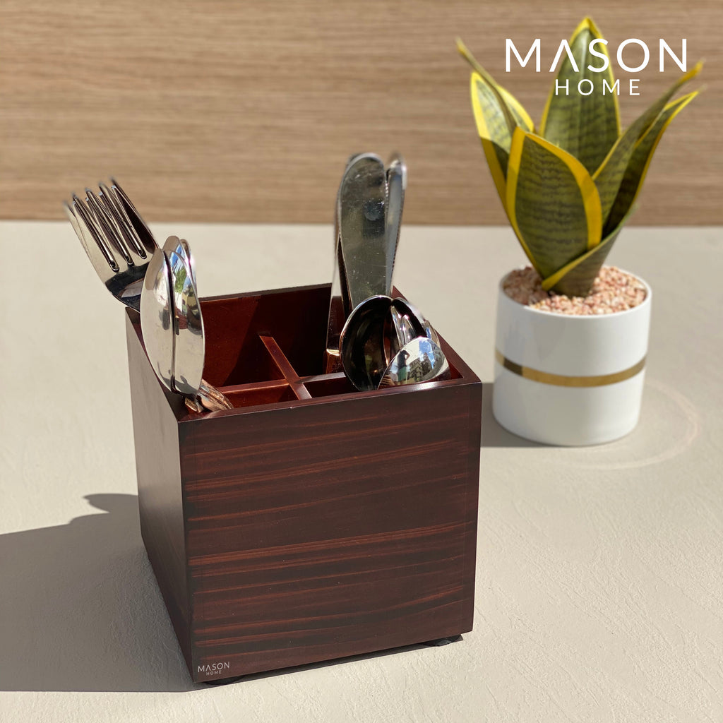 SQUARE CUTLERY HOLDER - WOOD - Mason Home by Amarsons - Lifestyle & Decor