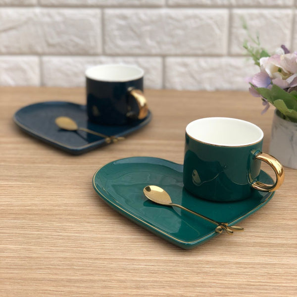 HEART CUP & SAUCER - EMERALD GREEN