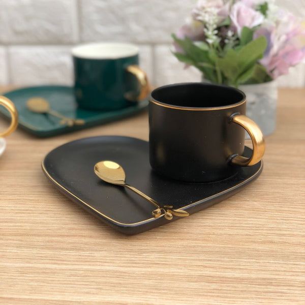 HEART CUP & SAUCER - COAL BLACK