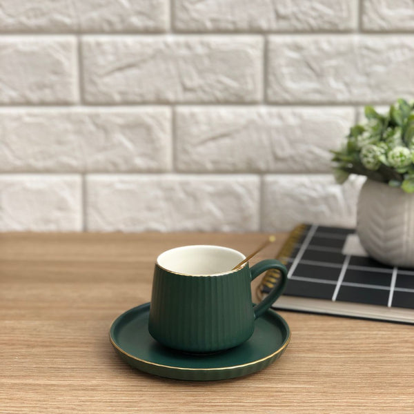 RIBBED TEA CUP - WARM GREEN