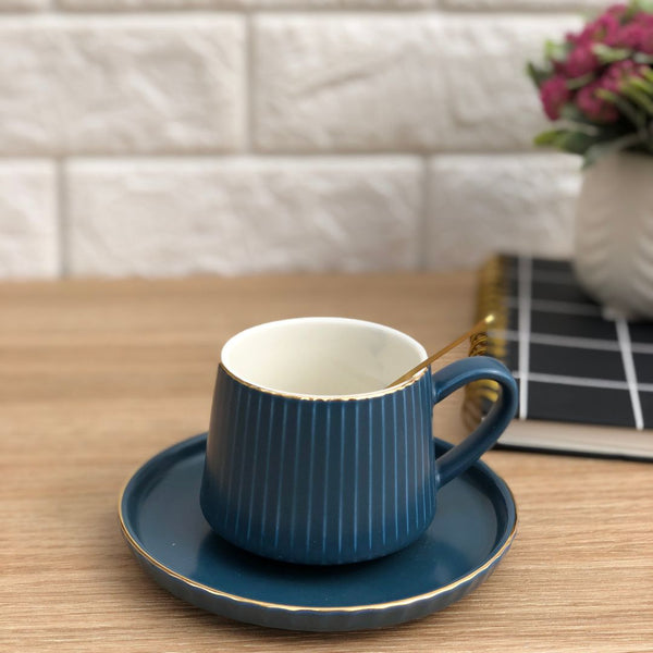 RIBBED TEA CUP - MIDNIGHT BLUE