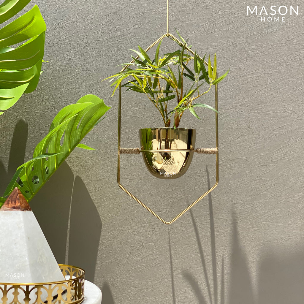 HEXAGONAL HANGING PLANTER - GOLD - Mason Home by Amarsons - Lifestyle & Decor