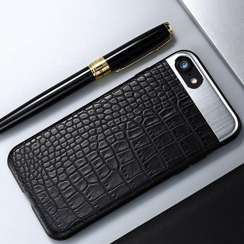 Luxury Leather Metal Hybrid Back Cover Phone Case For iPhone 6 / 6S / 6Plus / 6Splus / 7 / 7Plus / 8 / 8Plus / X