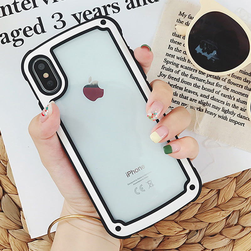 Cute Candy Color Phone Case For iPhone 6 6S 7 8 Plus X Soft Acrylic Anti-knock Protective Case