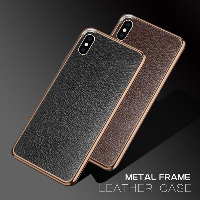 Genuine Leather Back Leather Metal Frame Bumper Case For iPhone 7 / 8 / 7 Plus / 8 Plus