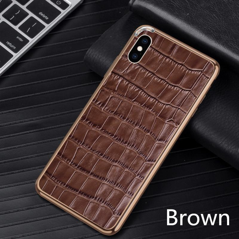 Luxury Crocodile Real Leather + Metal Chrome Frame Phone Case For iPhone 7 / 7 / 7 Plus / 8 Plus