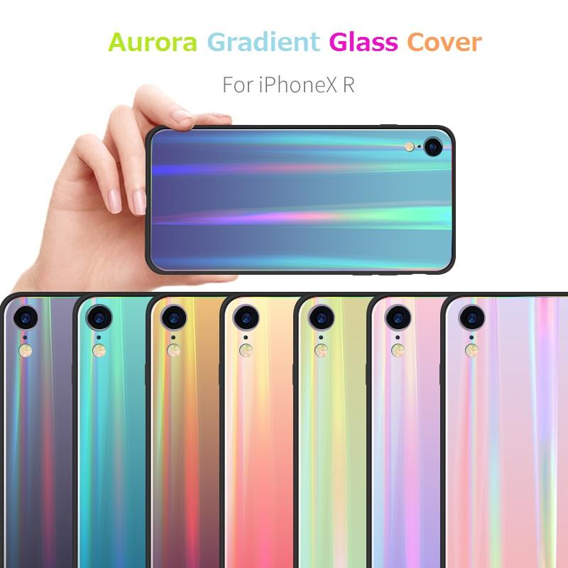 Aurora Colorful Glass Gradient Shell Cover Case for IPhone XS MAX XR XS