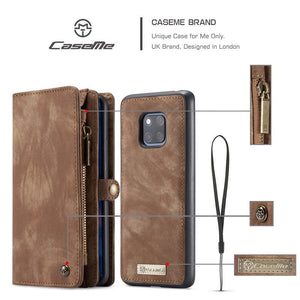 CaseMe For Huawei P20 P20Pro P20Lite Mate 20 Pro Wallet Case Premium Zipper Leather Purse with Detachable Flip Magnetic Cover 11 Credit Card Slots