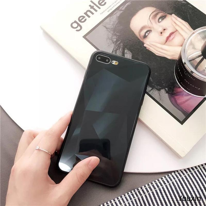 3D Diamond Reflective Glass Laser iPhone X Mobile Phone Shell Creative Drop Protectio for SAMSUNG HUAWEI