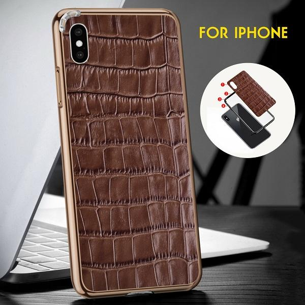 Luxury Crocodile Real Leather + Metal Chrome Frame Phone Case For iPhone X / XS / XR / XS MAX