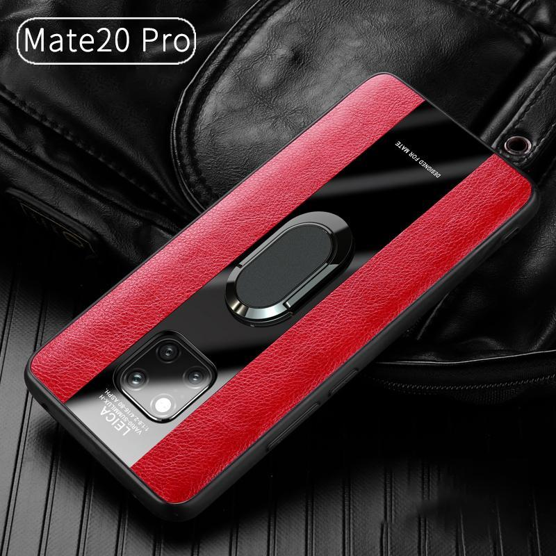 Leather Silicon Ring Holder Phone Case for  Huawei Mate 10 Lite Nova3 Mate 10 Pro P20 P20 Pro