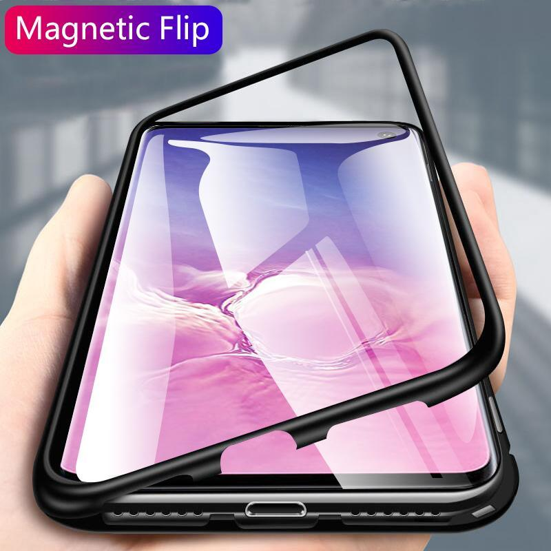 Samsung S10 S10 Plus S10e Original Magnetic Adsorption Transparent Tempered Glass Phone Case