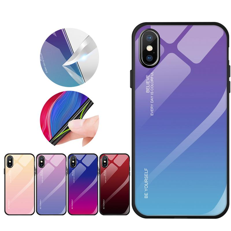 Gradient Phone Case Tempered Glass Cover Back Shell For  iPhone 6 6S 7 8 Plus XS MAX XR X