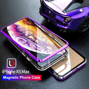 METAL MAGNETIC FRAME Glass Protective Case For iphone X /XS /MAX /8/8Plus/7/7Plus/6/6s/6Plus/6sPlus