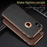 Slim Real Leather Metal Frame Phone Case For iPhone X / XS / XR / XS MAX
