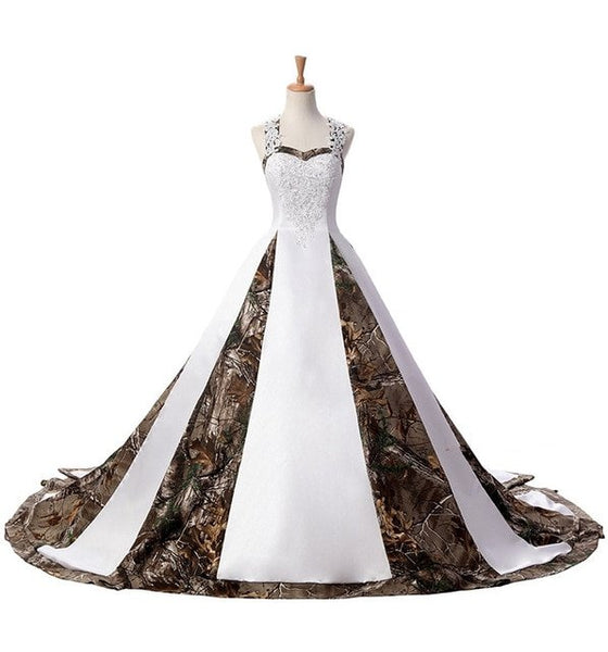 White Ball Gown Camo Beaded Lace Up Camouflage Wedding Dress All