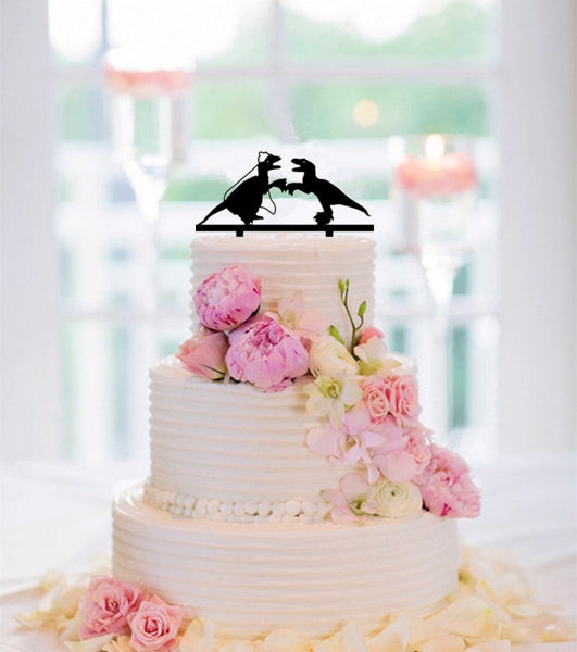 Funny Dinosaur Couple Bride And Groom Wedding Cake Topper