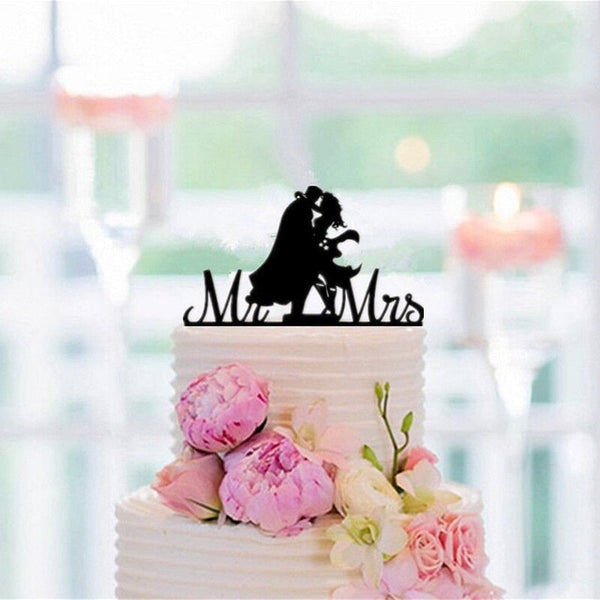 Mixed Style Superman And Wonder Woman Wedding Cake Topper