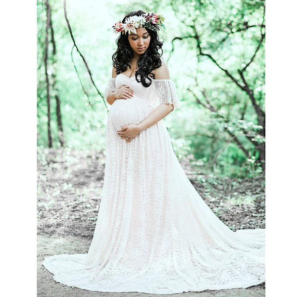 Women S Off Shoulder Lace Maternity Wedding Dress All Things