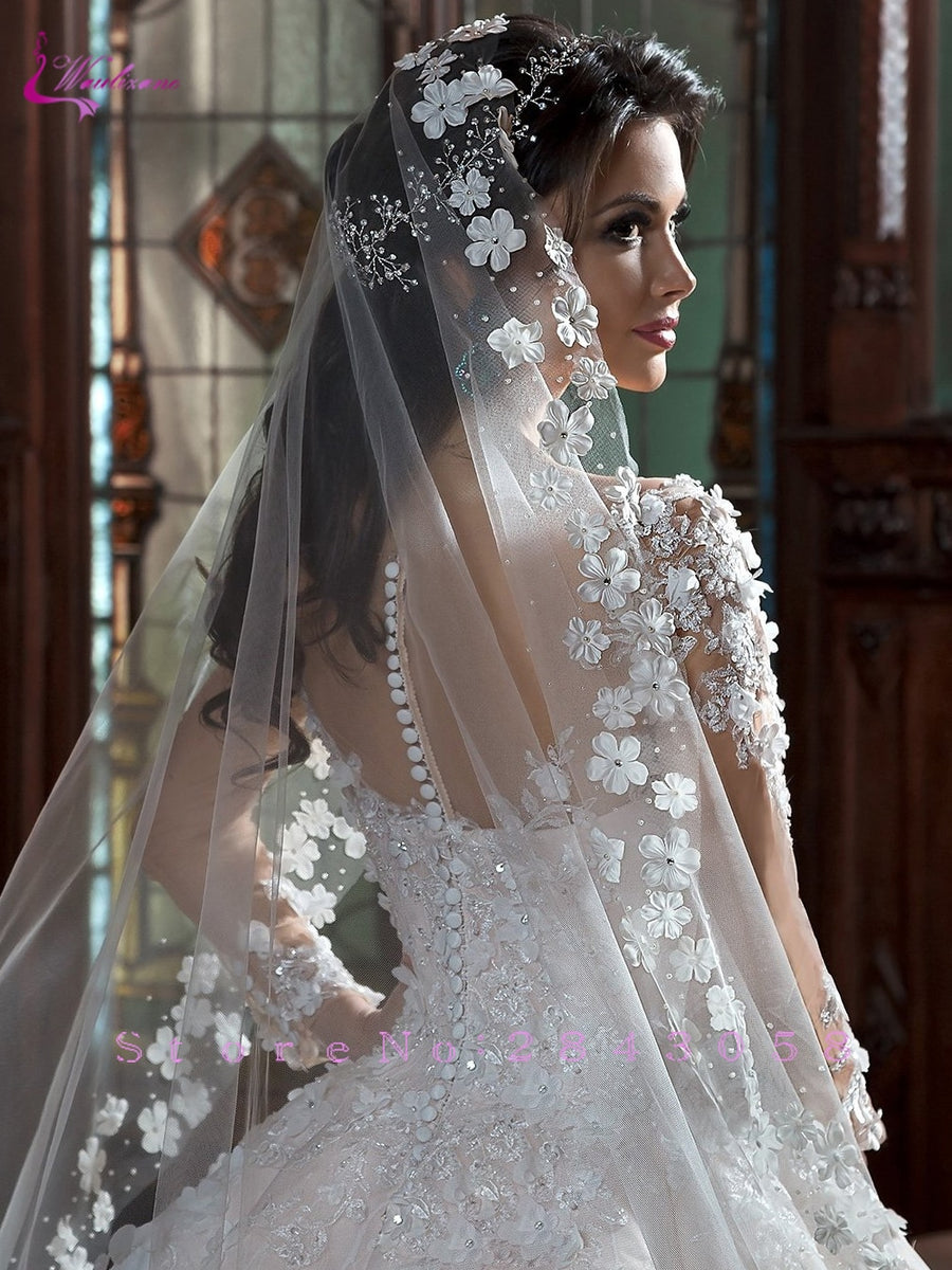 Full Sleeve Ball Gown With Court Train Elegant 3d Flowers And