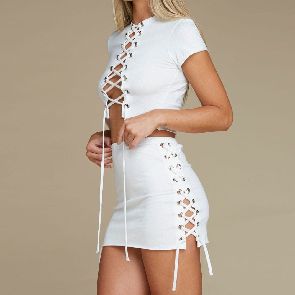 88b050098fa764 White Two Piece Tight Drawstring crop top/ Hip Skirt – All Things ...