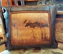 "Load image into Gallery viewer, ""Moose Challenge"" Leather Pillow"