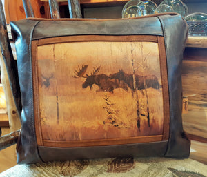 """Moose Challenge"" Leather Pillow"