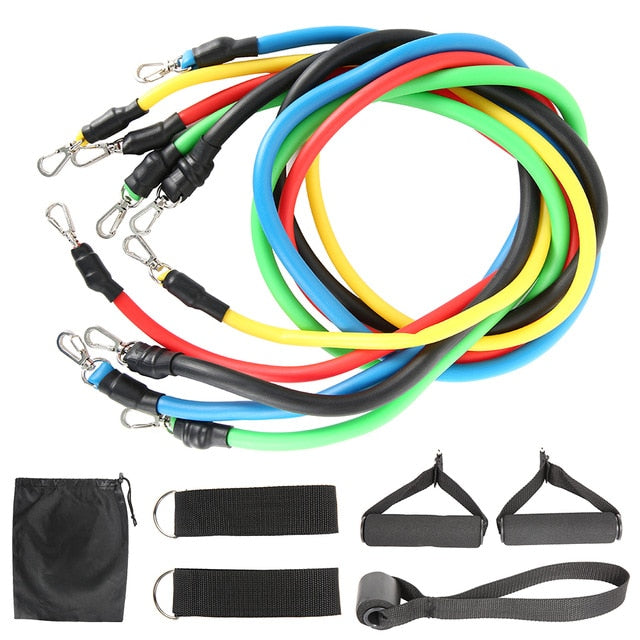 11pcs Fitness Resistance Bands Set - HOME WORKOUT READY!