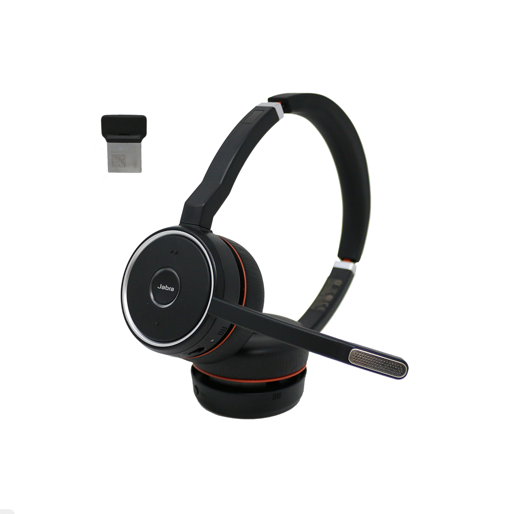 Jabra Evolve 75 Duo Uc Bluetooth Wireless Headset With Usb Dongle Cer Renewed Headsets
