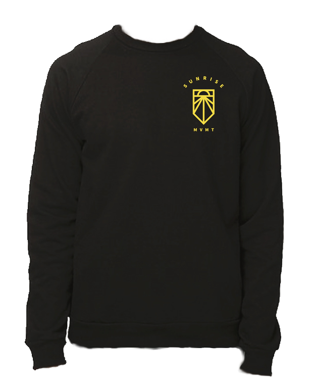 "Black crewneck t-shirt with yellow ""SUNRISE MVMT"" and Sunrise Logo in pocket area"