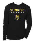 "Black Sunrise longsleeve tee-shirt with ""SUNRISE MOVEMENT"" and Sunrise logo."