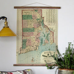 Vintage Scroll Map, 1880 Rhode Island