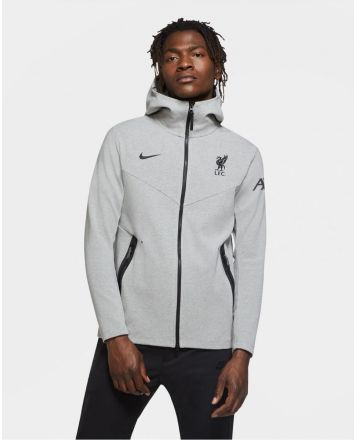 Liverpool Nike Mens Grey Tech Pack Hoodie