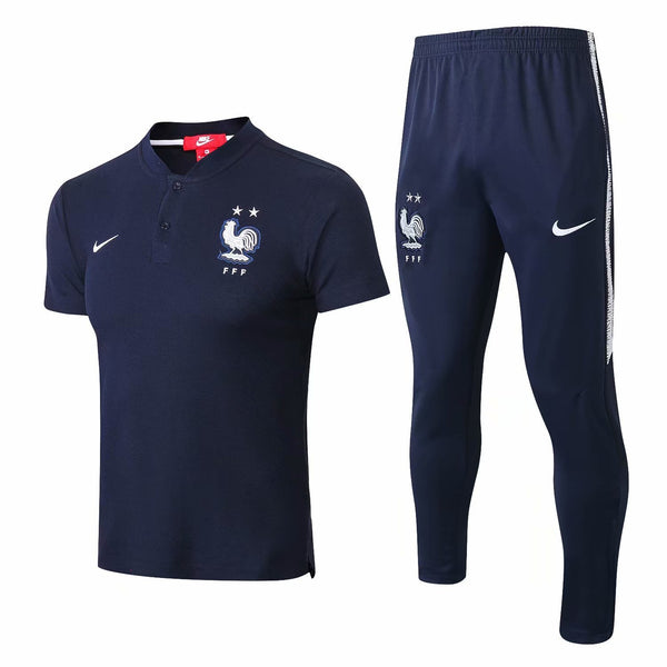 France | Blue Polo + Pants Training Suit 18/19 - SoccerTriads