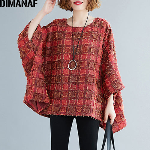 Blouse Shirts Casual Tassel Patchwork Plaid Lady Tops Tunic Batwing Sleeve