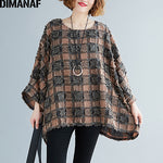 Load image into Gallery viewer, Blouse Shirts Casual Tassel Patchwork Plaid Lady Tops Tunic Batwing Sleeve