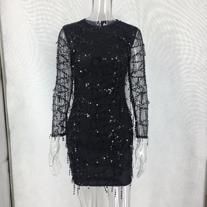 Long sleeve Sequins Dress Women