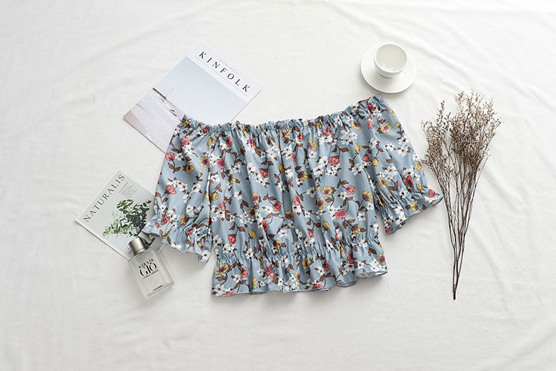Blouse Shirt Elegant Lady Tops Tunic Print Floral Strapless