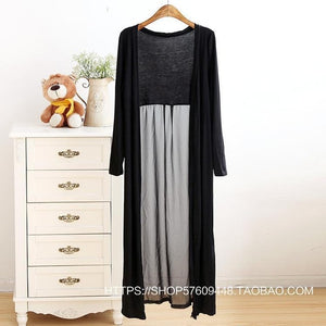 Spring Patchwork Chiffon Long Shirt Blouses Knitted Loose Sunscreen Shirts