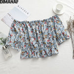 Load image into Gallery viewer, Blouse Shirt Elegant Lady Tops Tunic Print Floral Strapless