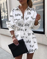 Load image into Gallery viewer, Collar slim high waist printed letters mini length shirt dress