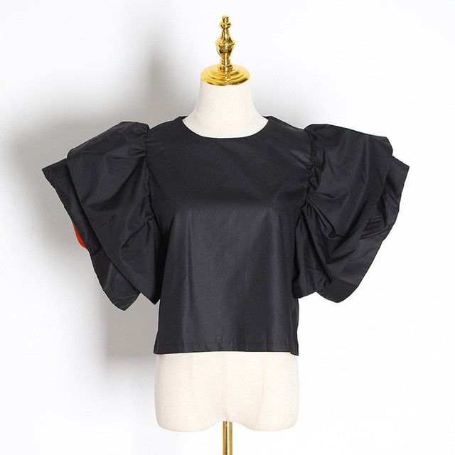 Sweet Style Patchwork Blouses Female O Neck Butterfly Short Sleeve
