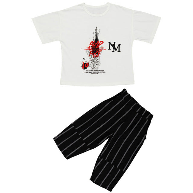 Toddler Outfits Cartoon T-shirt + Striped shorts