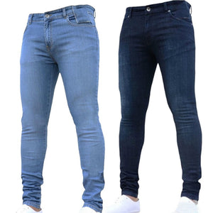 Stretched Jeans Men Business Skinny Ripped Jeans