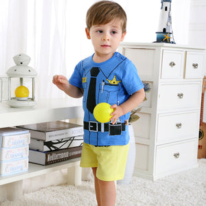 Policeman t shirt +Shorts kids outfit Cotton Infant Clothes
